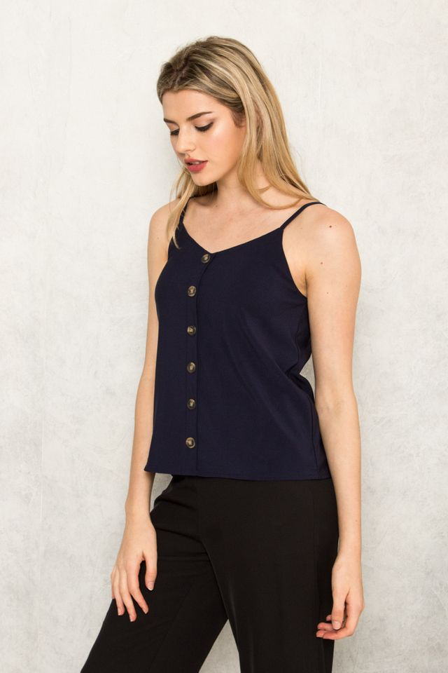 Kitto Button Down Top in Navy (XL)