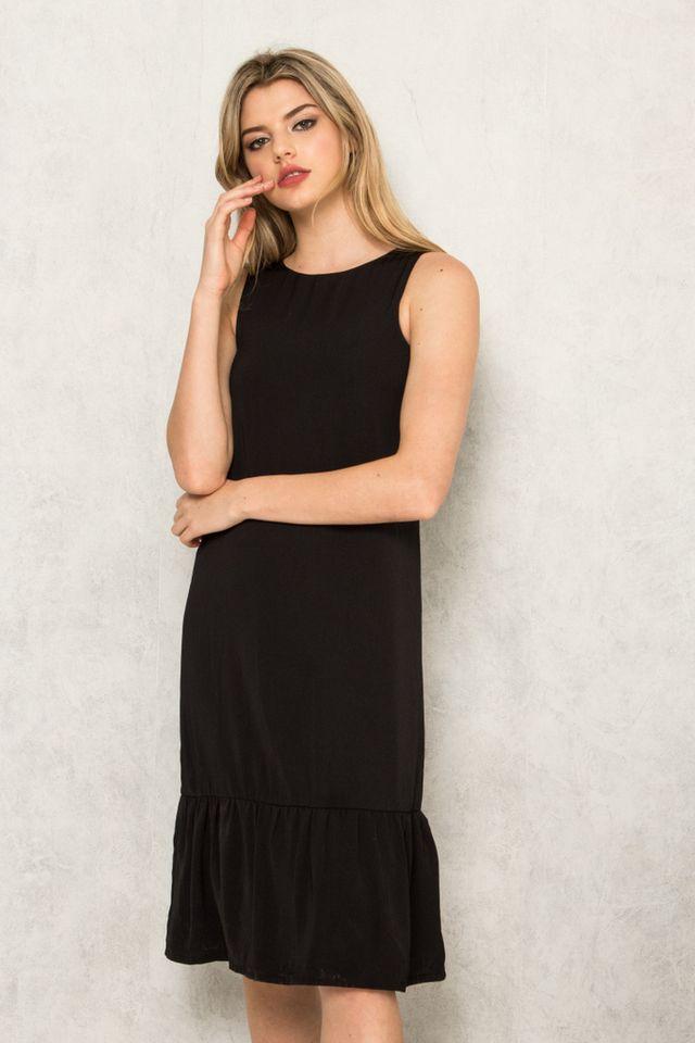 Priscilla Dropwaist Midi Dress in Black