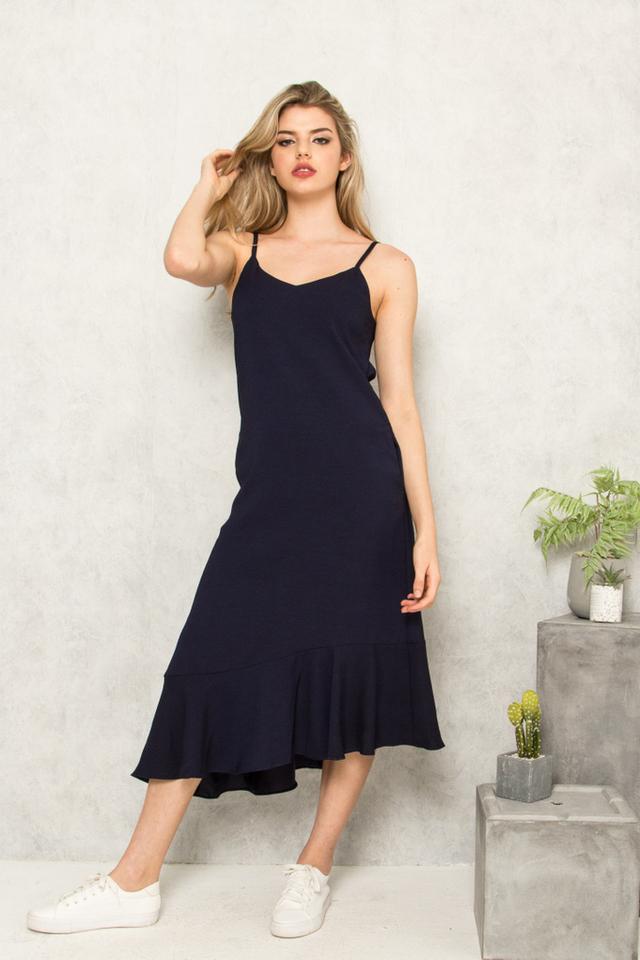 Jeannine Slip Ruffles Dress in Navy (S)