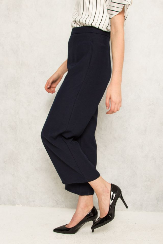 Alric High Waisted Palazzo Trousers in Navy (XL)