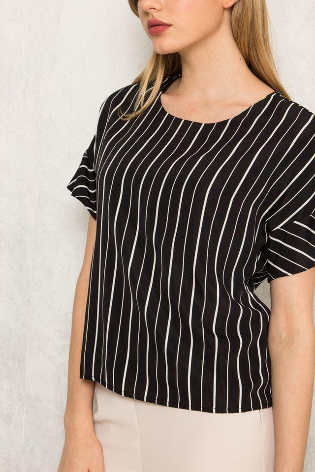 Etain Striped Button Top in Black (S)