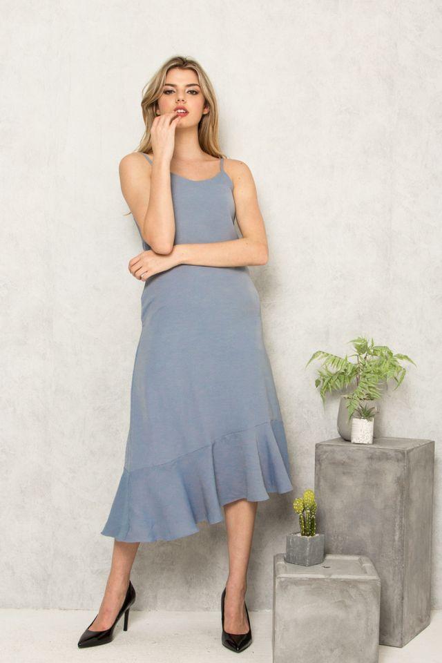 Jeannine Slip Ruffles Dress in Ash Blue