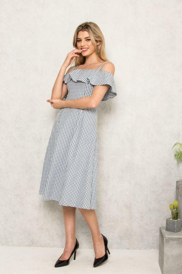 Harleth Gingham Cold Shoulder Dress in Blue (XS)