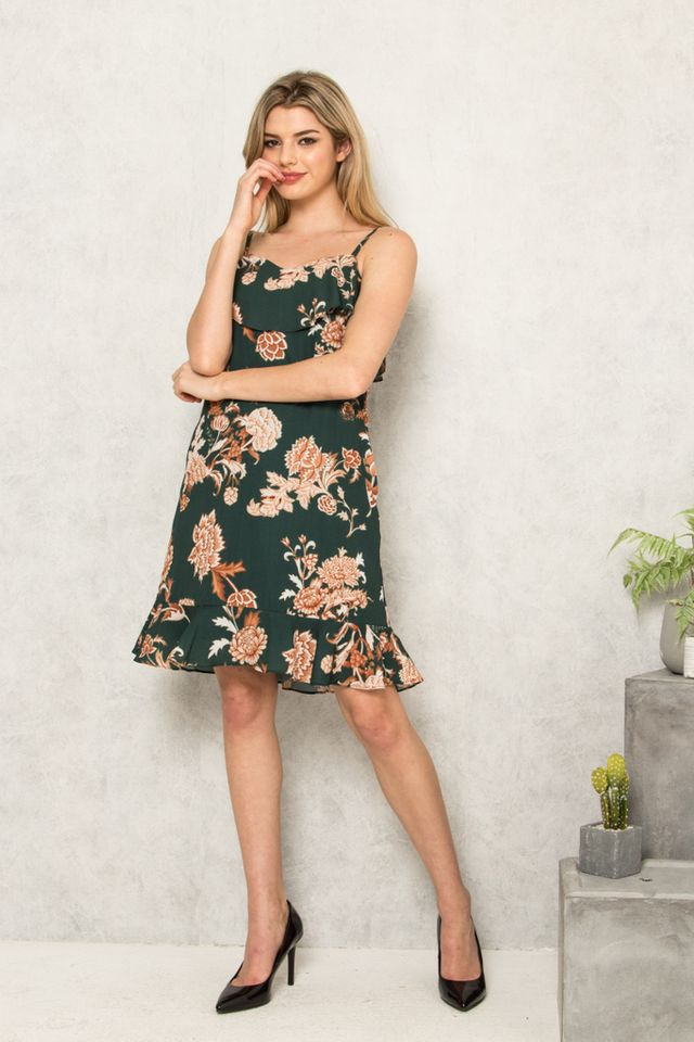 Clarene Layered Floral Dropwaist Dress in Forest (L)