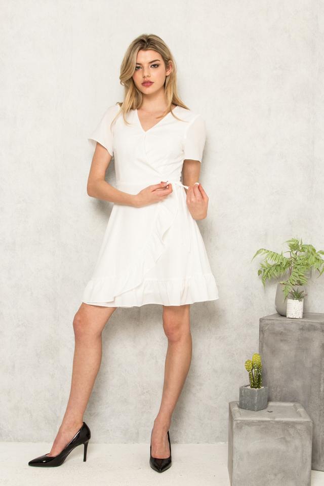 Alizabeth Faux Wrap Ruffles Dress in White