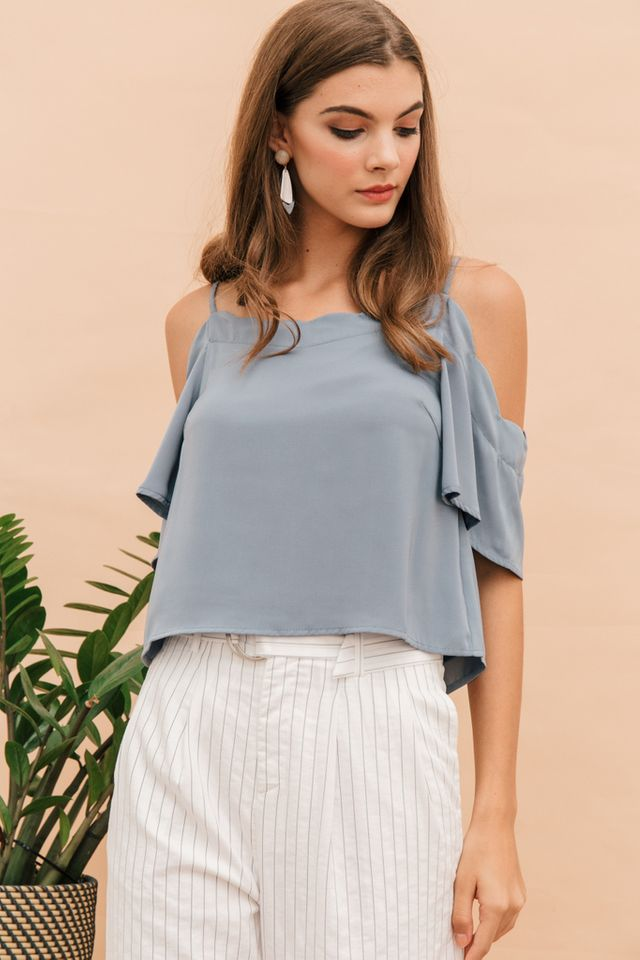 Cyrilla Scalloped Cold Shoulder Top in Steel Blue (L)