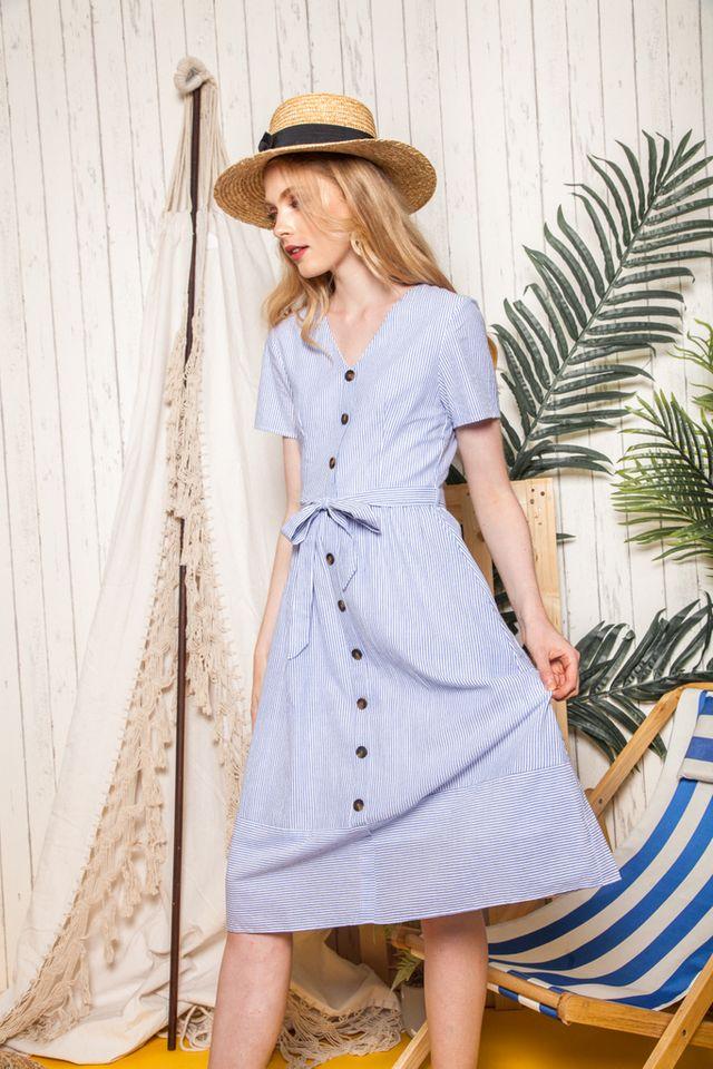 Chandelle Striped Button Down Midi Dress in Blue (XS)