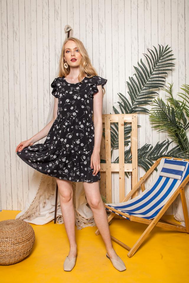 Britta Floral Ruffles Dress in Black