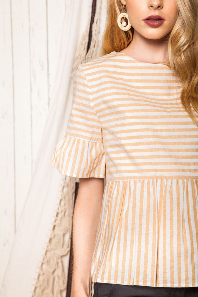 Cybele Striped Babydoll Top in Sand (XS)