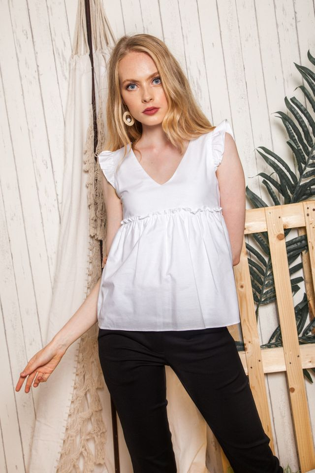 Kailey Ruffled Babydoll Top in White