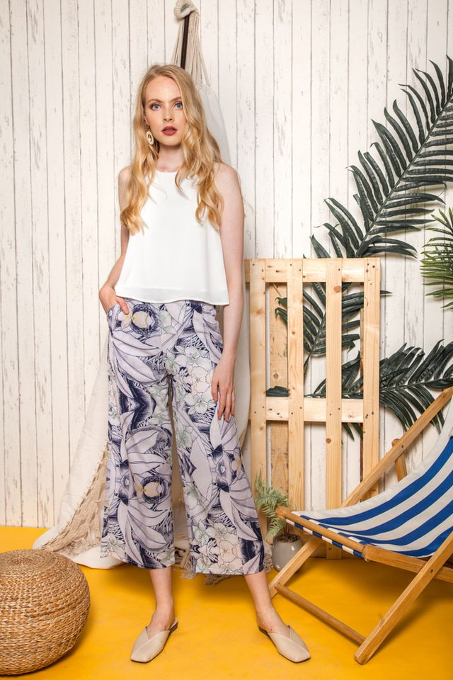 Moyna Floral Straight-cut Pants in Navy (XS)