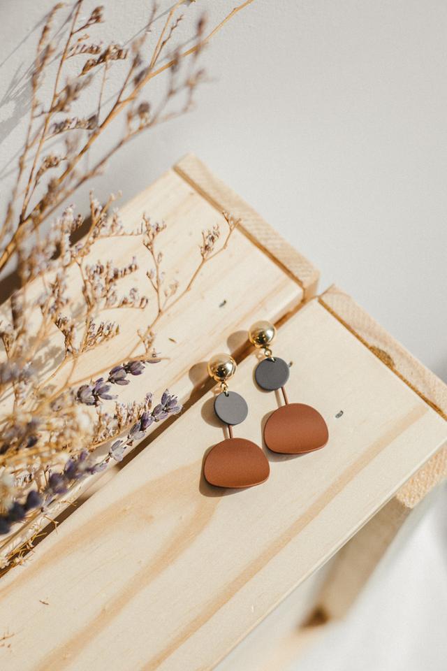 Wren Colourblock Earrings in Brown