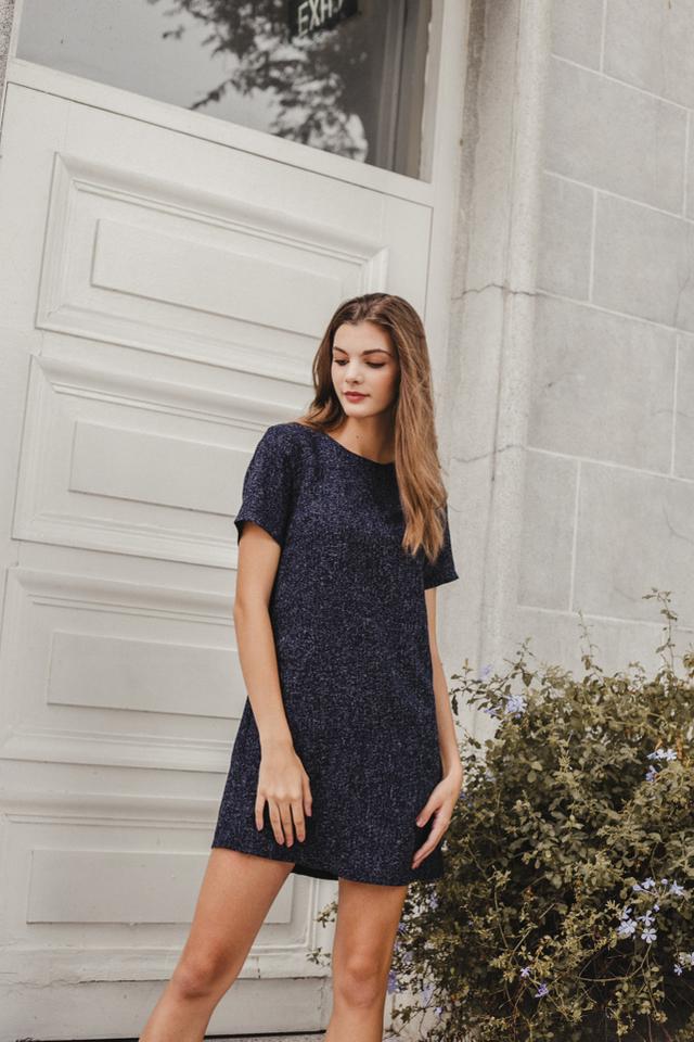Cezelia Tweed Shift Dress in Navy
