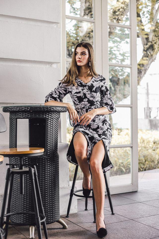 Bronnen Floral Slit Midi Dress in Black