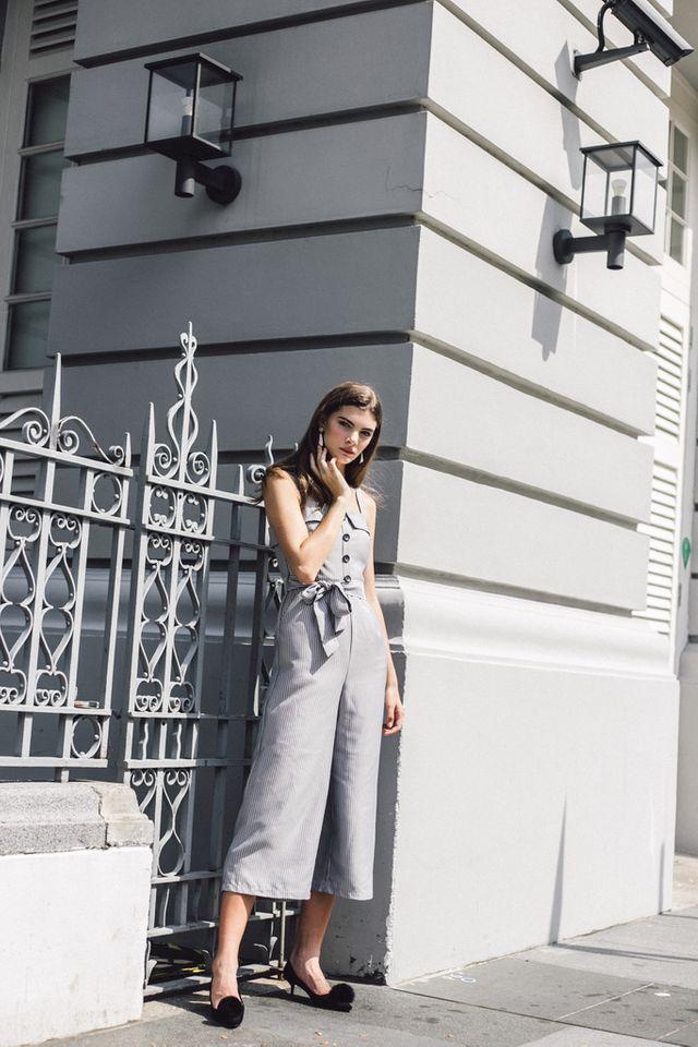 Vedette Button Striped Jumpsuit in Grey (L)