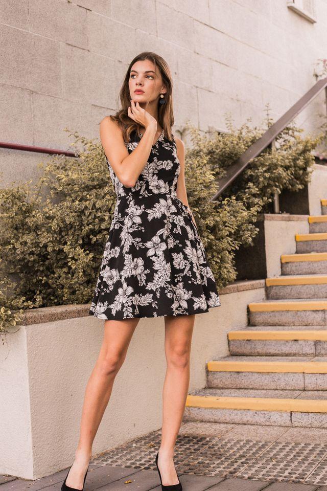 Lycia Floral Overlay Skater Dress in Black (XS)