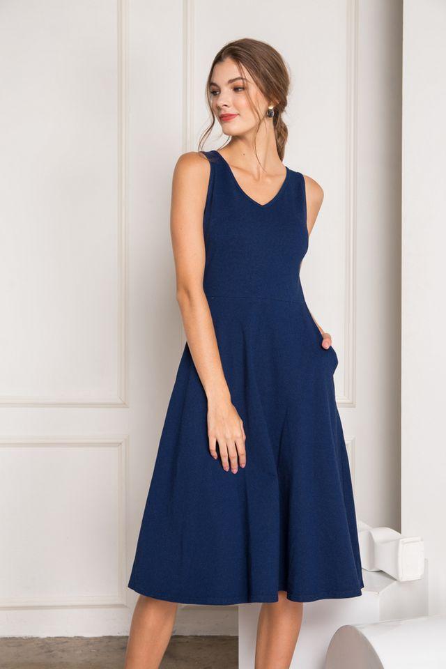Kalea Denim Midi Skater Dress in Blue (XS)