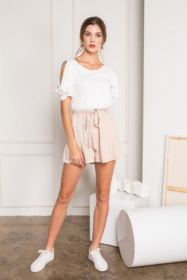 Fenella One-shoulder Layered Top in White (L)