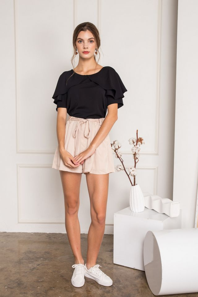 Fenella One-shoulder Layered Top in Black
