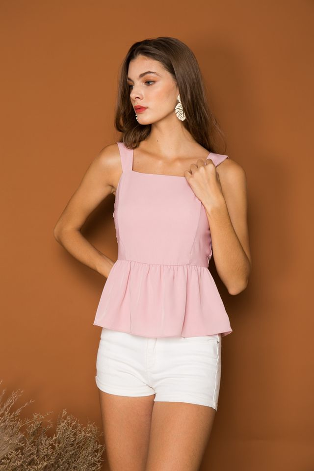 Aspyn Basic Peplum Top in Baby Pink (XL)