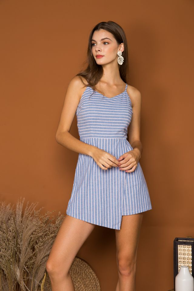Cambrie Striped Overlay Romper in Blue