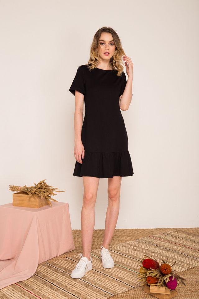 Brisa Folded Sleeve Dropwaist Dress in Black (XS)