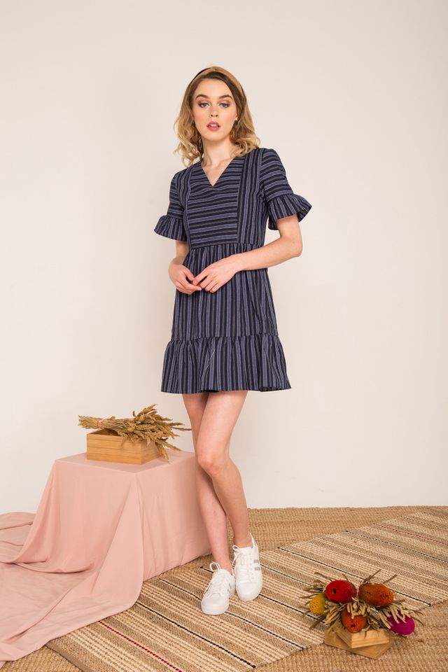 Lynsday Pinstripe Ruffle Skater Dress in Navy (XS)