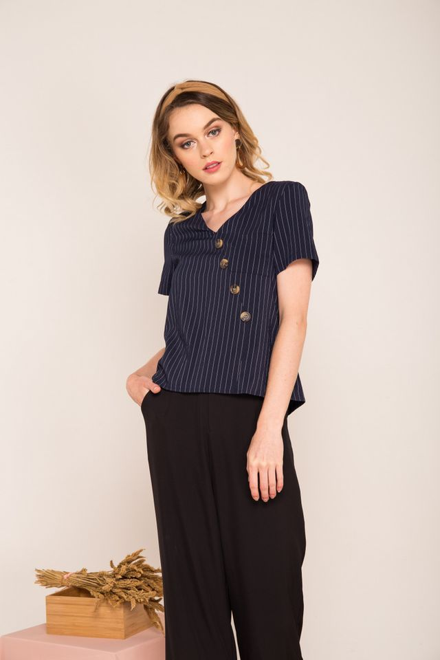 Fayline Striped Asymmetrical Button Top in Navy (XS)