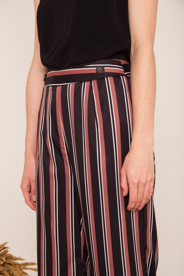 Cliona Pinstriped High-waisted Culottes in Black