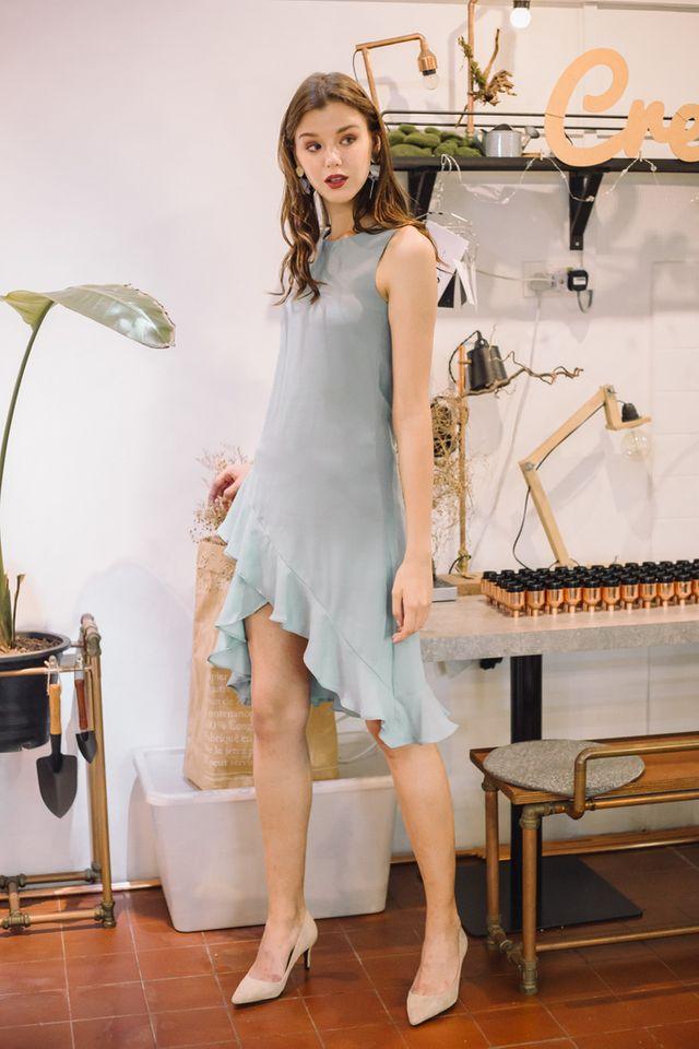 Jasmin Asymmetrical Ruffles Midi Dress in Mint
