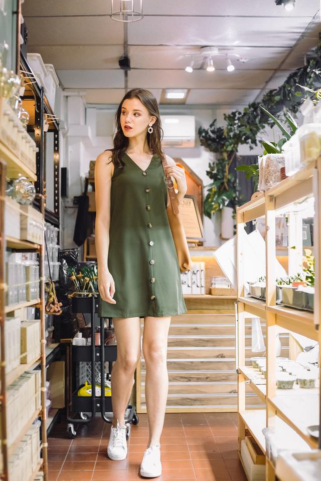 Jazmyn Button Shift Dress in Olive