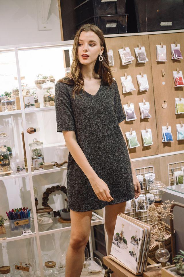 Alyvia Tweed Shift Dress in Black