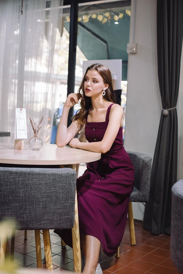 Loretta Button Flare Maxi Dress in Magenta
