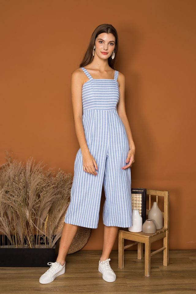 Annette Striped Jumpsuit in Light Blue (XL)