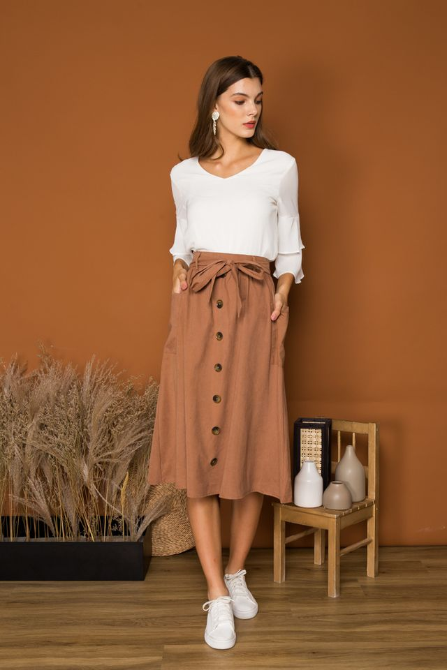 Maeve Suede Button Midi Skirt in Russet (XS)