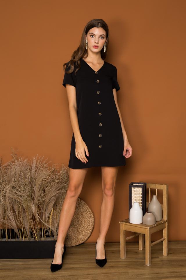 Beline Button Down Shift Dress in Black