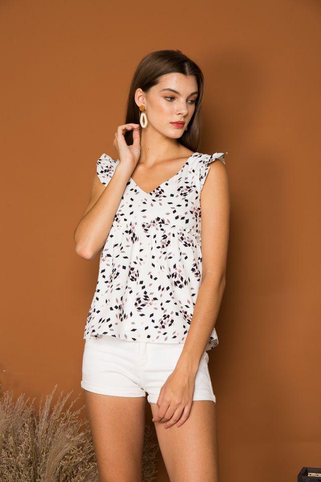 Tia Geometric Ruffled Babydoll Top in White (XL)