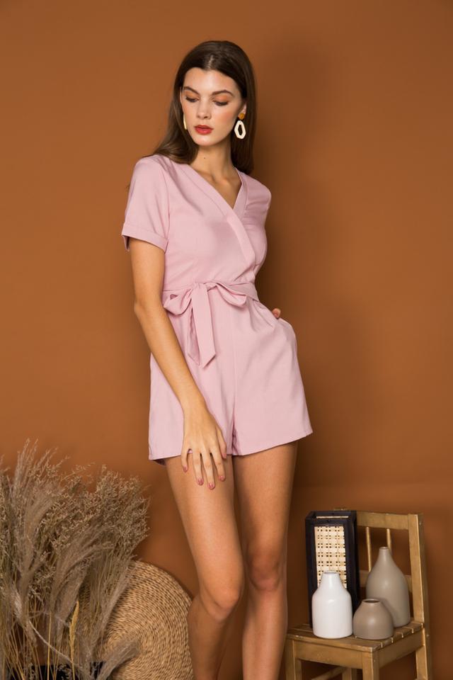 Katelle Faux Wrap Basic Romper in Dusty Pink (L)