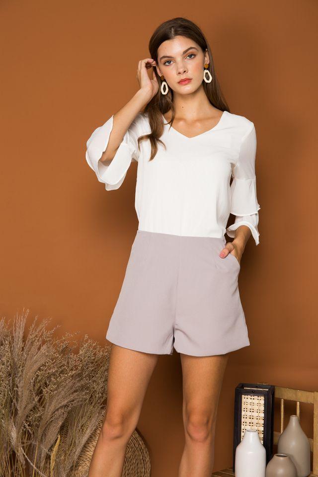 Enrica Basic High Waisted Shorts in Grey