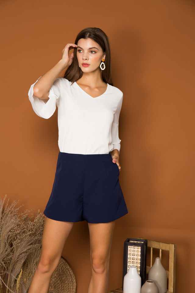 Enrica Basic High Waisted Shorts in Navy