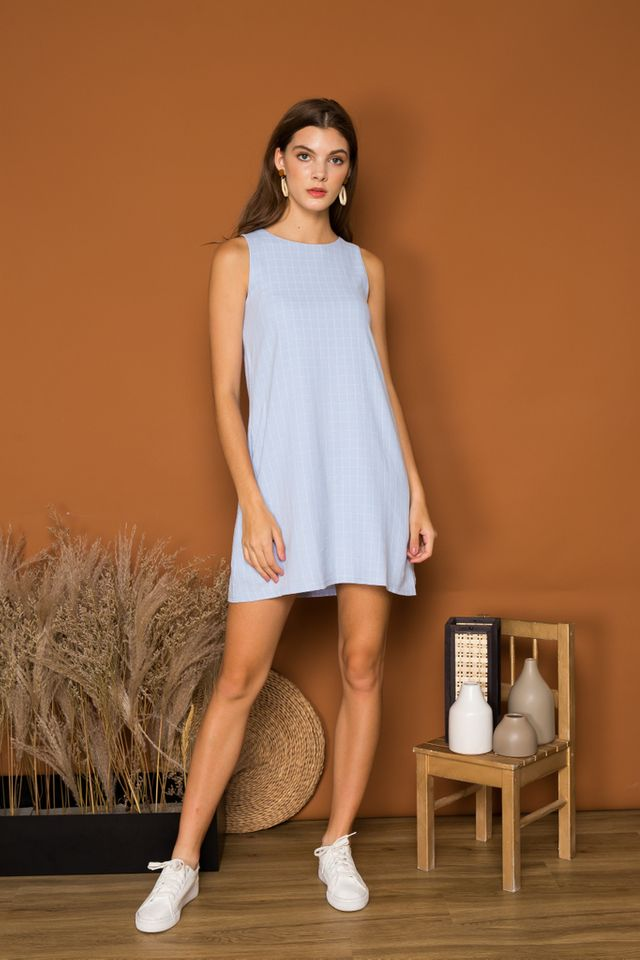 Glynis Checkered Trapeze Dress in Baby Blue (XL)