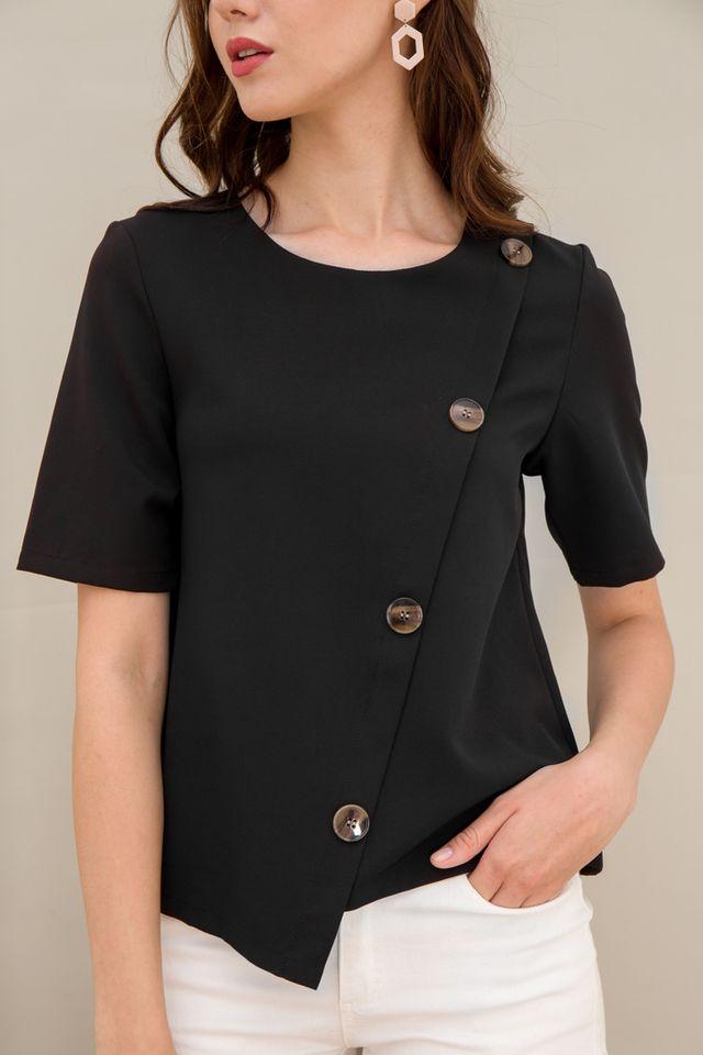 Taniya Asymmetrical Button Top in Black (XS)