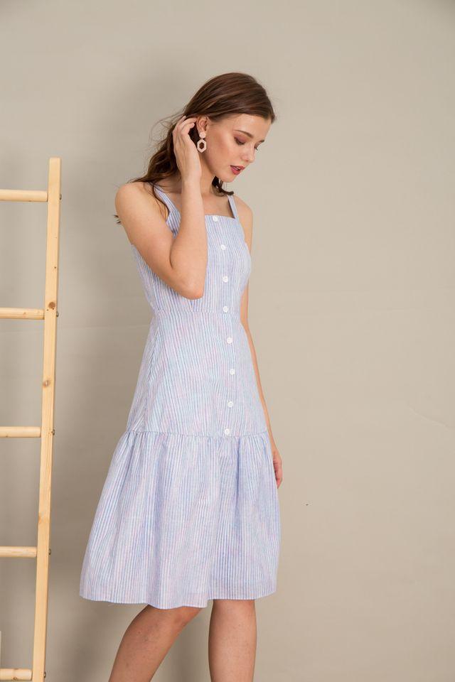 Averie Pinstripe Midi Dress in Blue (L)