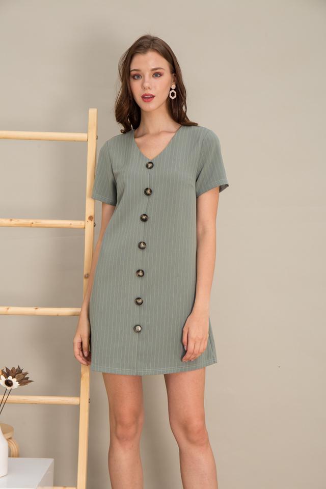 Kareena Striped Button Shift Dress in Seafoam