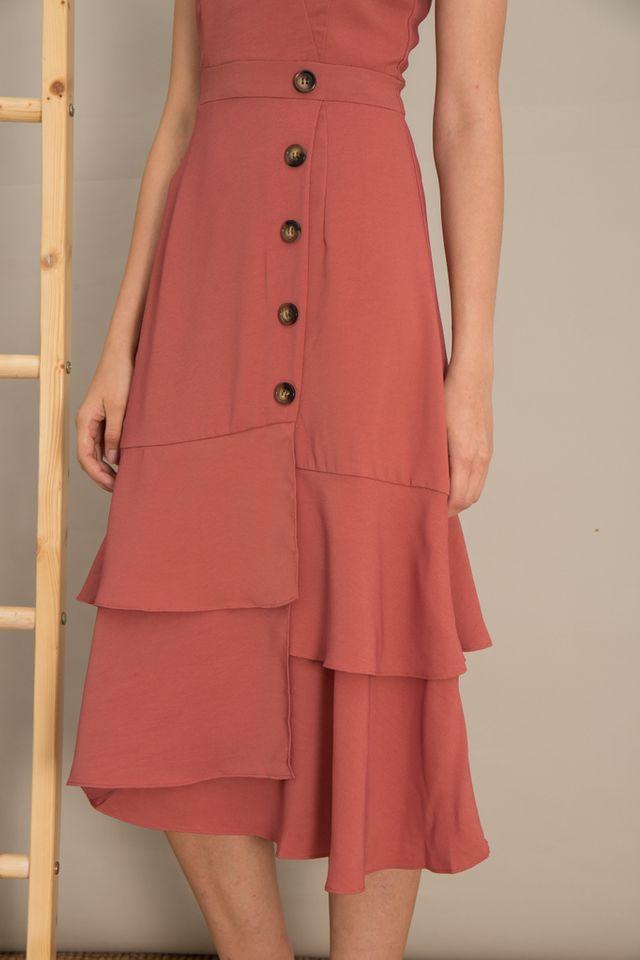 Rochelle Asymmetrical Ruffles Maxi Dress in Salmon Pink