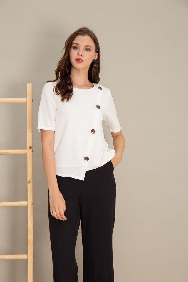 Taniya Asymmetrical Button Top in White (S)