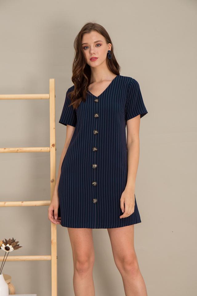 Kareena Striped Button Shift Dress in Navy