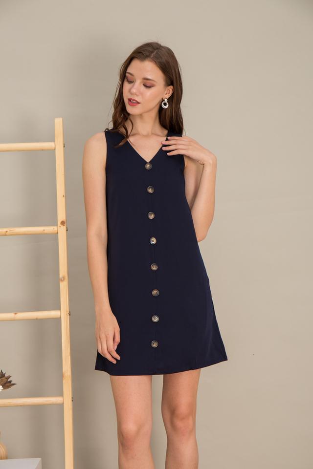 Jazmyn Button Shift Dress in Navy