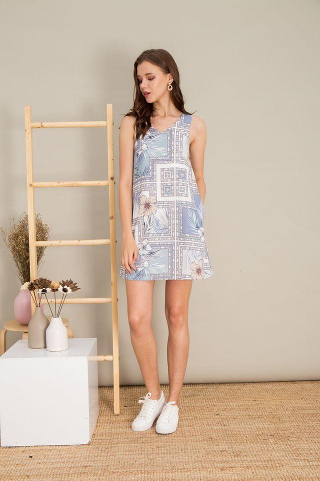 Hariette Baroque Trapeze Dress in Blue