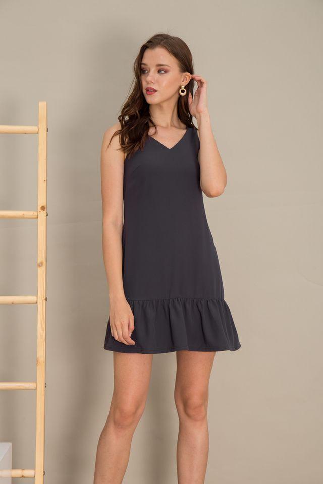 Emely Basic Dropwaist Dress in Slate Grey (XS)